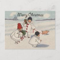 Vintage Merry Christmas Snow Children Holiday Postcard