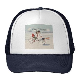 Vintage Merry Christmas Snow Children Trucker Hat