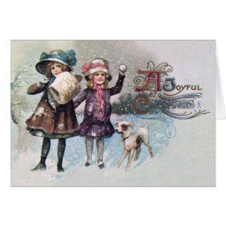 Vintage Merry Christmas Snowy Card