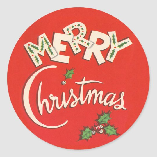 vintage merry christmas sticker - Merry Christmas Stickers