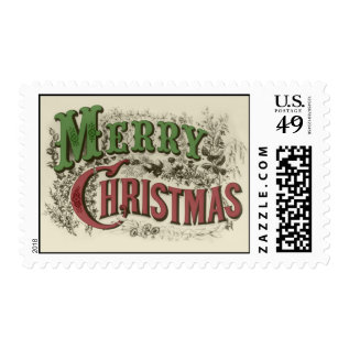 Vintage Merry Christmas Text Postage at Zazzle