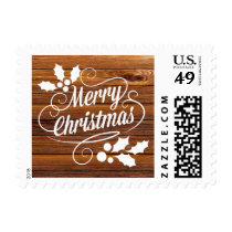 Vintage Merry Christmas Typography Barn Wood Postage