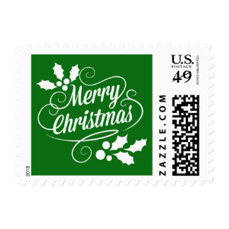Vintage Merry Christmas Typography | green Postage