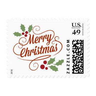 Vintage Merry Christmas Typography Word Art Stamp