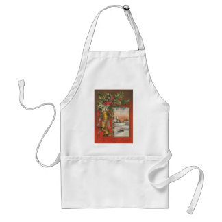 Vintage Merry Christmas with Bells Adult Apron