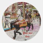 vintage merry-go-round horse round stickers