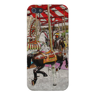 Vintage merry-go-round running horses iPhone 5 cases