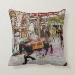 vintage merry-go-round with horses in the park throw pillow