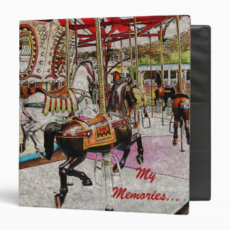 Vintage merry go round with running horses 3 ring binder