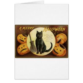 Vintage Merry Halloween - black cat and pumpkins Greeting Card