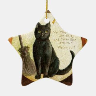 Vintage Merry Halloween - black cat and pumpkins Ceramic Ornament