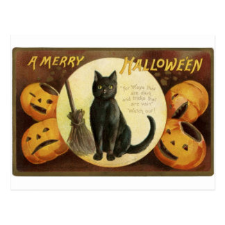 Vintage Merry Halloween - black cat and pumpkins Post Cards