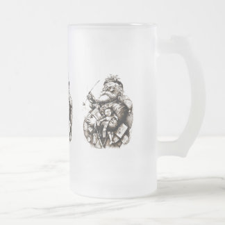 Vintage Merry Old Santa Claus Frosted Glass Beer Mug