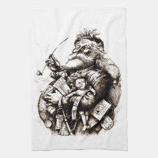 Vintage Merry Old Santa Claus Kitchen Towel