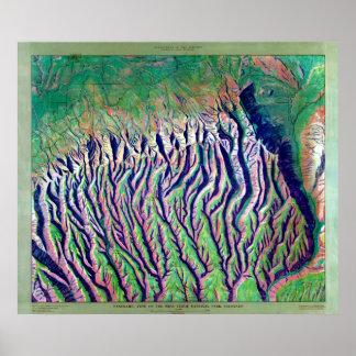 Vintage Mesa Verde Relief Map Poster
