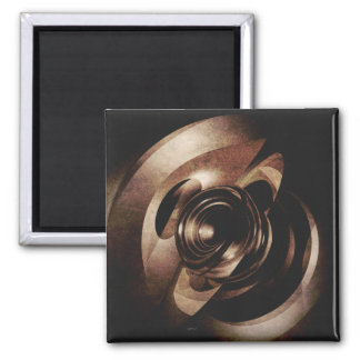 Vintage Metal Abstract 2 Inch Square Magnet
