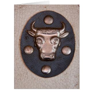 Vintage metal bull head large greeting card