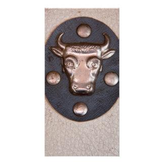 Vintage metal bull head custom photo card