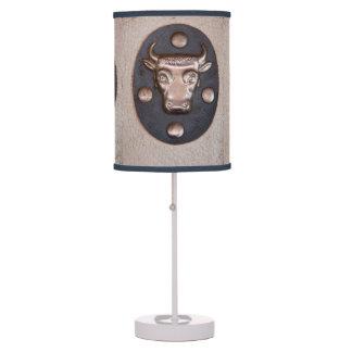 Vintage metal bull head table lamp
