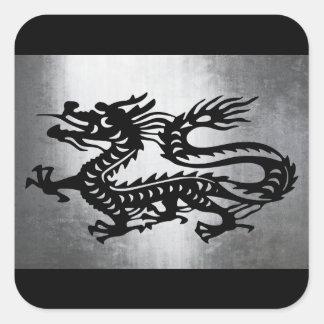 Vintage Metal Dragon Square Sticker