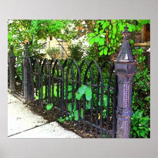 Vintage Metal Garden Fence Poster
