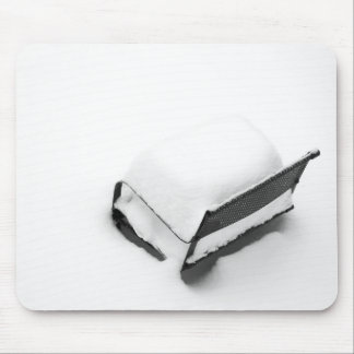 Vintage Metal Lawn Chair Full Of Snow Mouse Pad