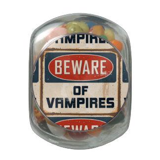 Vintage Metal Sign - Beware Of Vampires Glass Candy Jars