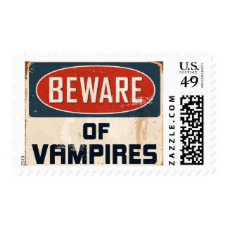 Vintage Metal Sign - Beware Of Vampires Postage