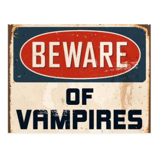 Vintage Metal Sign - Beware Of Vampires Postcard