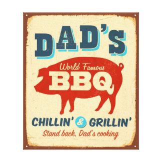 Vintage metal sign - Dad's BBQ Canvas Print