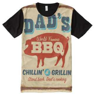 Vintage metal sign - Dad's BBQ All-Over Print T-shirt