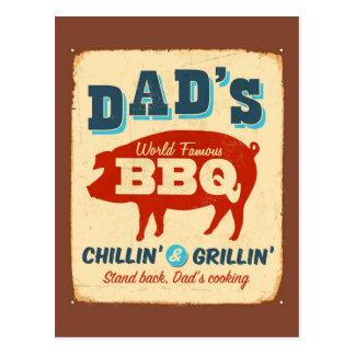 Vintage metal sign - Dad's BBQ Postcard