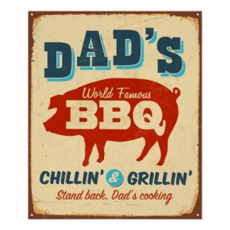 Vintage metal sign - Dad's BBQ Print