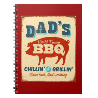 Vintage metal sign - Dad's BBQ Spiral Notebook