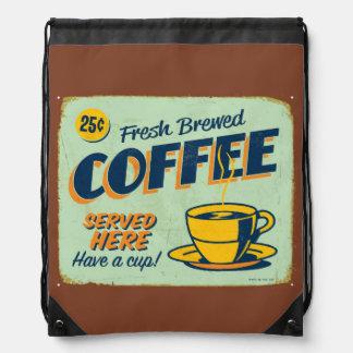 Vintage metal sign - Fresh Brewed Coffee Drawstring Backpack