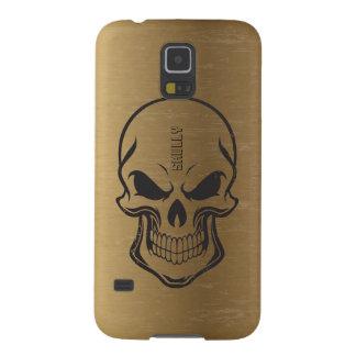 Vintage Metallic Gold Background Black Sugar Skull Galaxy S5 Cover