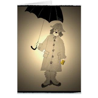 """Vintage Metro Beagle in Raincoat"" Card"