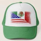 Vintage Mexican American Grunge Flag Trucker Hat