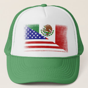 Vintage Mexican American Grunge Flag Trucker Hat dd6105123af