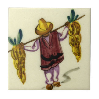 Vintage Mexican Tile - Carrying Bananas