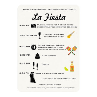 Vintage Mexican Wedding or Fiesta Program Timeline Personalized Invites