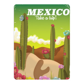 vintage Mexico Desert Travel poster Card