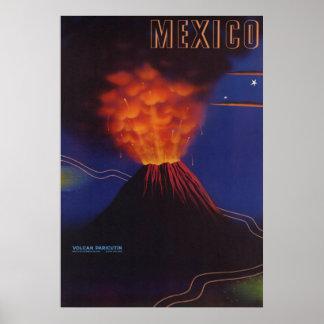 Vintage Mexico Travel Paricutin Volcano Poster