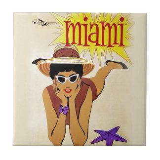 Vintage Miami Beach Azulejo Cuadrado Pequeño