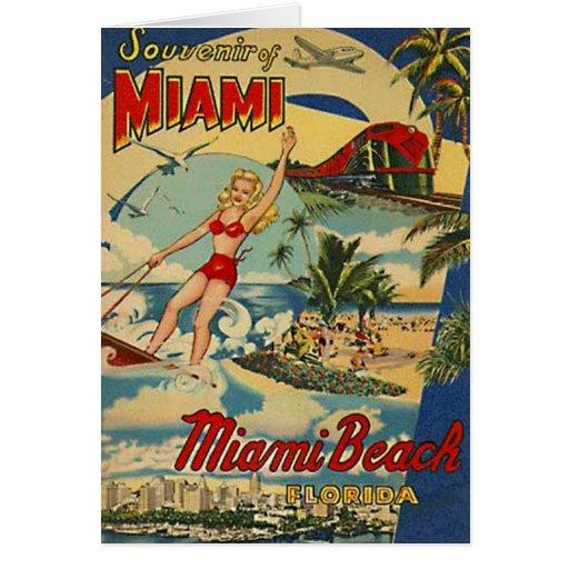 Vintage miami beach florida usa greeting cards zazzle