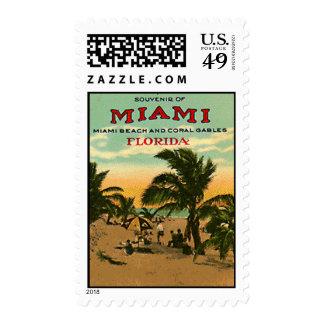 Vintage Miami Beach, Florida, USA - Postage Stamp