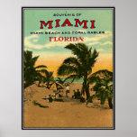 Vintage Miami Beach, la Florida, los E.E.U.U. - Póster