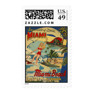 Vintage Miami Beach, la Florida, los E.E.U.U. - Sello