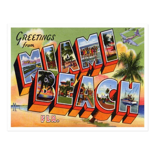 Well known Vintage Miami Beach Postcard   Zazzle.com VS62