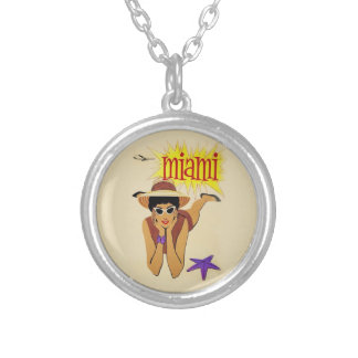 Vintage Miami Beach Round Pendant Necklace